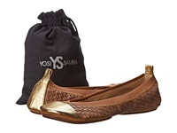 Yosi Samra Samantha Burnished Woven Flat Sienna Pure Gold Women's Flat Shoes Brown