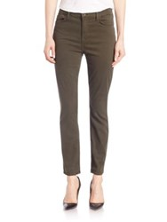 Jen7 Brushed Sateen Ankle Skinny Jeans Army Green