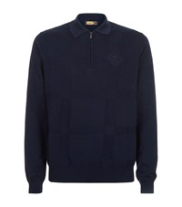 Zilli Embroidered Polo Shirt Navy