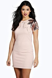 Boohoo Maya Embellished Shoulder Bodycon Dress Nude