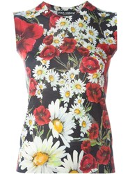 Dolce And Gabbana Daisy And Poppy Print Tank Top Red