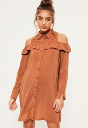 Missguided Brown Ruffle Cold Shoulder Shirt Dress Orange