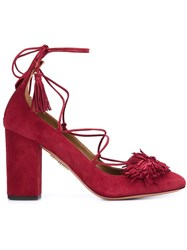 Aquazzura Lace Up Heels Red