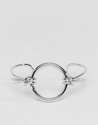 Asos Knot And Open Circle Cuff Bracelet Rhodium Silver