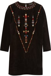 Isabel Marant Maggy Embroidered Suede Mini Dress Black