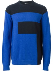 T By Alexander Wang Colour Block Sweater Blue