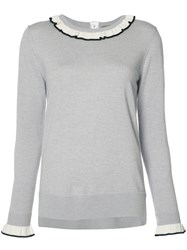 Adam By Adam Lippes Ruffle Neck And Cuff Sweater Grey