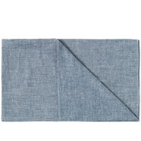 The Hill Side Extra Neppy Indigo Chambray Scarf Blue