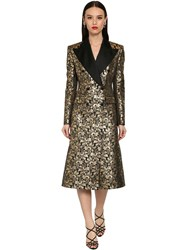 Dolce And Gabbana Double Breast Jacquard Lame Coat Gold