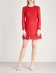 The Kooples Open Back Floral Lace Dress Red01