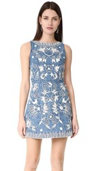 Alice Olivia Lindsey Embroidered Pouf Dress Chambray Cream