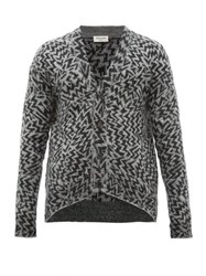 Saint Laurent Geometric Jacquard Wool Blend Cardigan Black Grey