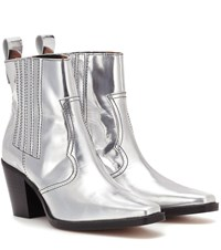 Ganni Western Leather Ankle Boots Silver