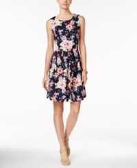 Charter Club Printed Fit And Flare Dress Only At Macy's Intrepid Blue