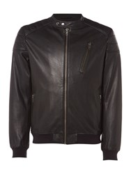 Label Lab Men's Edmonds Leather Bomber Jacket Black