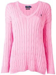 Polo Ralph Lauren V Neck Jumper Pink Purple