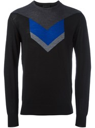 Les Hommes Arrow Intarsia Sweater Black