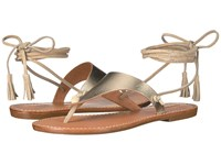 Soludos Thong Gladiator Flat Sandal Platinum Leather Women's Sandals Metallic
