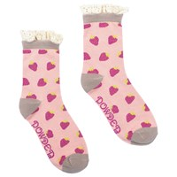 Powder Design Short Strawberry Print Lace Top Ankle Socks Pink Grey