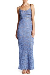 Abs By Allen Schwartz Scoop Neck Lace Gown Blue