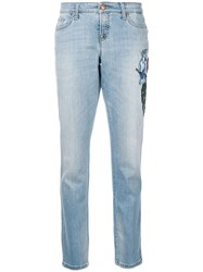 Cambio Embellished Cropped Jeans Blue