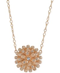 2028 Rose Gold Tone Crystal Studded Flower Pendant Necklace