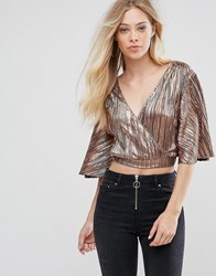 Oh My Love Pleat Batwing Top With Wrap Front Rose Gold