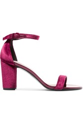 Stuart Weitzman Nearlynude Patent Leather Trimmed Velvet Sandals Claret