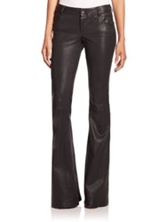 Alice Olivia Leather Bell Bottom Pants Black