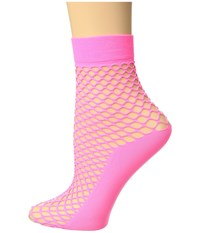 Steve Madden Fishnet Anklet With Solid Foot Neon Pink Crew Cut Socks Shoes