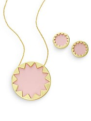 House Of Harlow Exclusive Leather Sunburst Necklace And Earring Set Nude