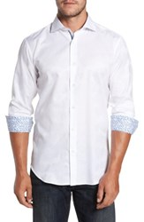 Bugatchi Men's Trim Fit Floral Jacquard Sport Shirt White