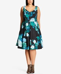 City Chic Trendy Plus Size Floral Print Fit And Flare Dress Green Spearmint