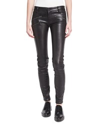Etienne Marcel Em1801 Mid Rise Leather Skinny W Zip Detail Black