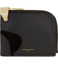 Wooyoungmi Leather Half Zip Pouch Black Gold