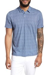 Zachary Prell Cedar Regular Fit Grid Print Polo Blue