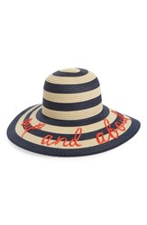 Kate Spade Out And About Straw Hat Brown Rich Navy Natural Black