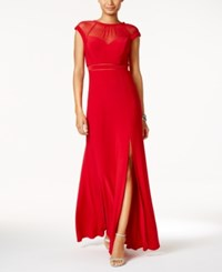 Nightway Petite Illusion Slit A Line Gown Red