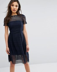 Paper Dolls Midi Skater Lace Dress Navy