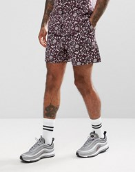 Asos Co Ord Slim Shorts With 70S Floral Print Purple