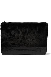 Alexander Wang Shearling Paneled Leather Clutch Black