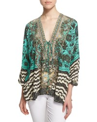 Camilla Sacromonte Embellished Lace Up Blouse Green Multi Women's