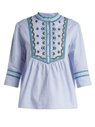 Talitha Willow Embroidered Cotton Top Light Blue