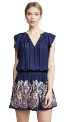 Ramy Brook Roxanne Dress Spring Navy With Multi Embroid