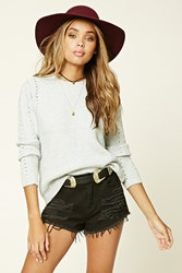 Forever 21 Open Knit Sweater Heather Grey