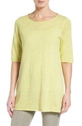 Eileen Fisher Women's Organic Linen And Cotton Slub Tee Lemon Ice