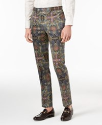 Tallia Orange Slim Fit Olive Printed Suit Pants