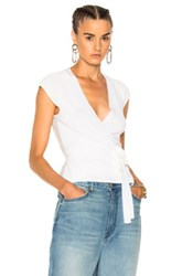 Alexander Wang T By Triple Combo Rib Knit Wrap Cap Sleeve Top In Gray White Gray White