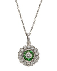 Diana M. Jewels 18K Diamond And Tsavorite Pendant Necklace