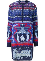 Mary Katrantzou Printed Shirt Dress Women Silk 8 Blue